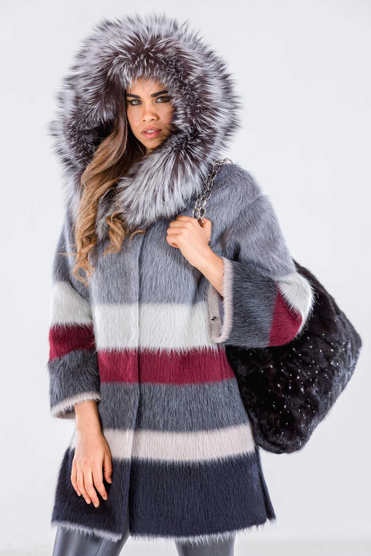 Cappottino lana mohair e volpe con cappuccio