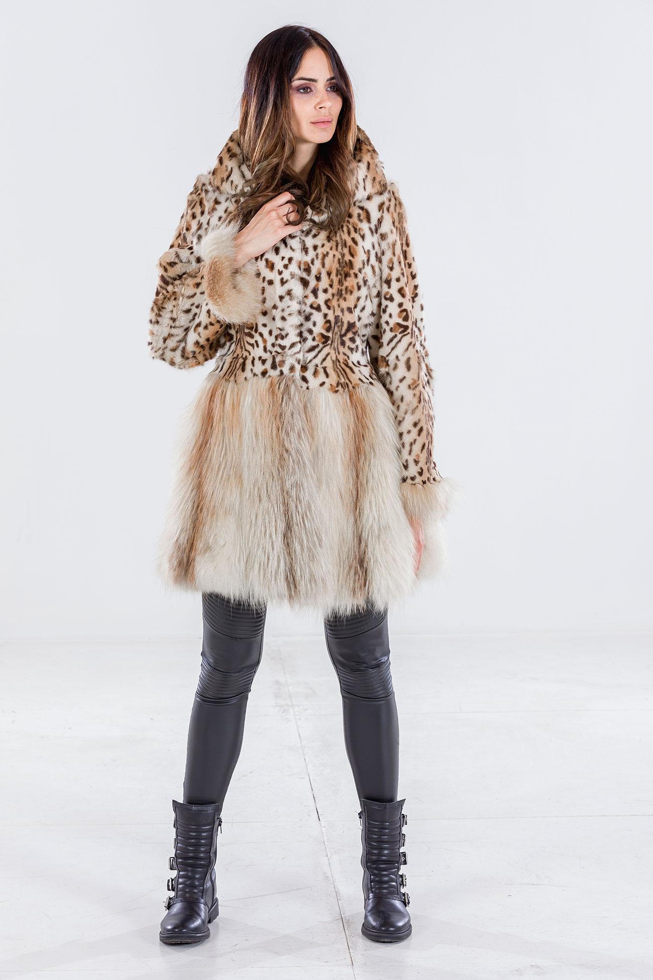 Cappottino pelliccia animalier con volpe