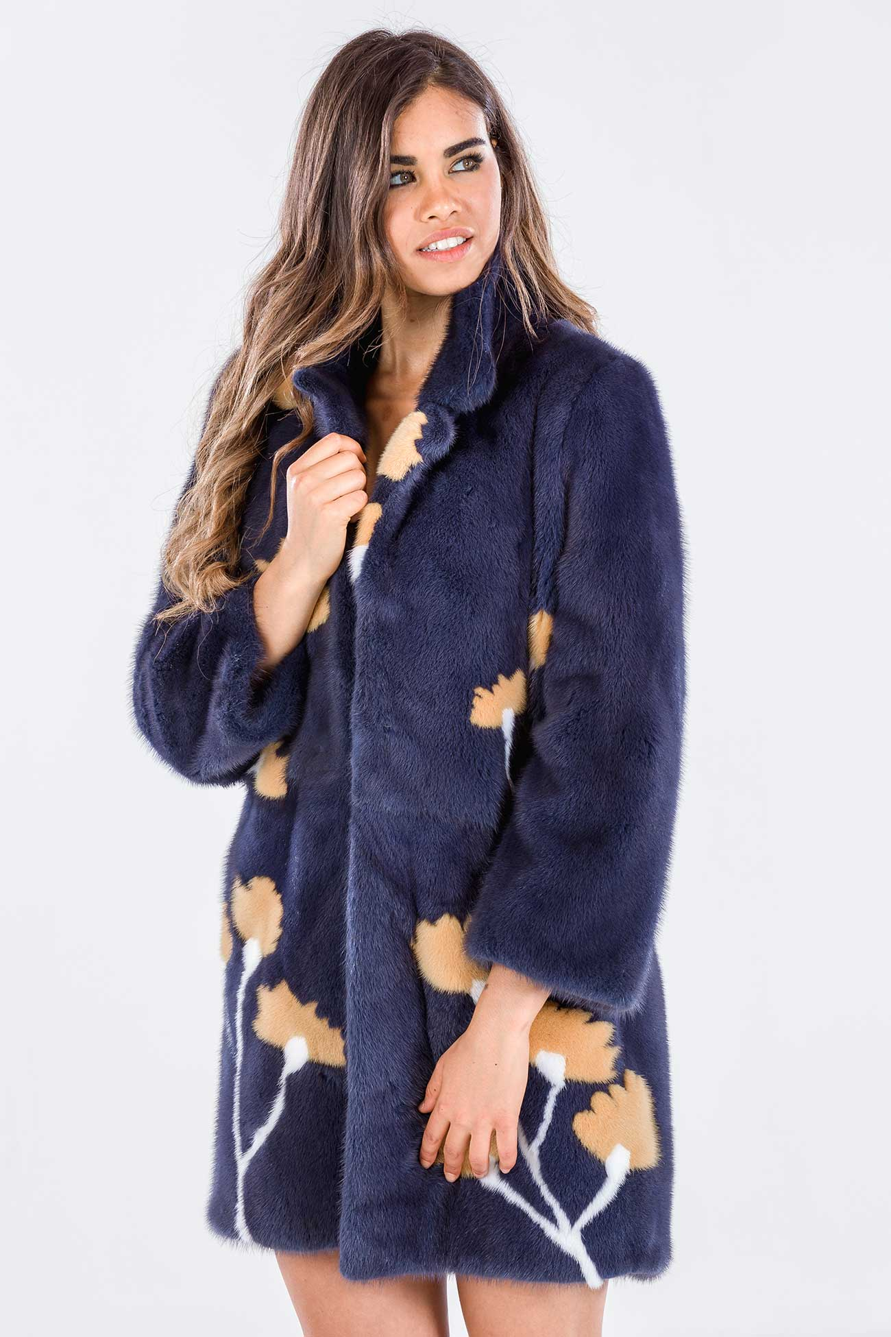 Mink coat aegean blue with floral inserts
