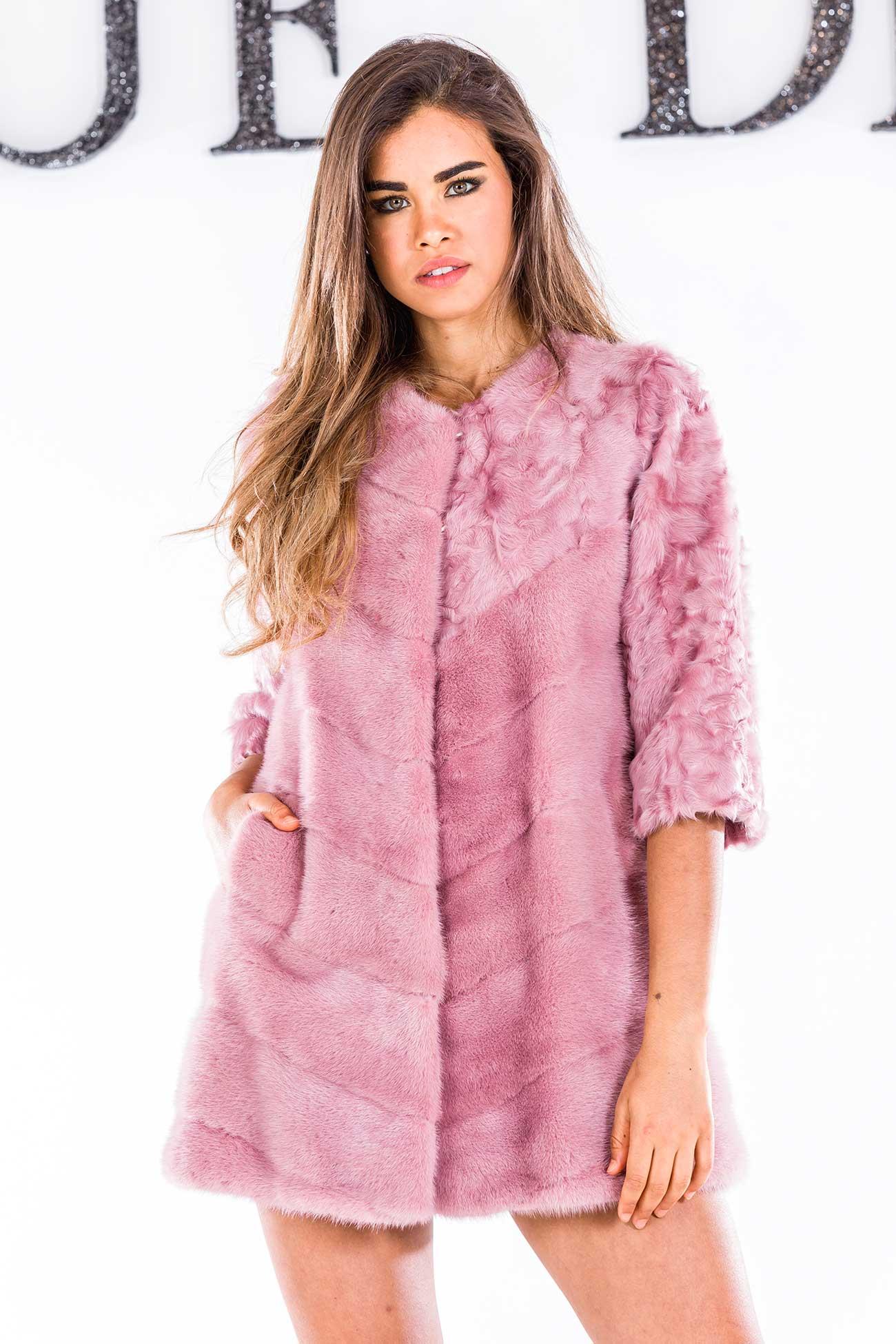 Pink mink and lamb coat