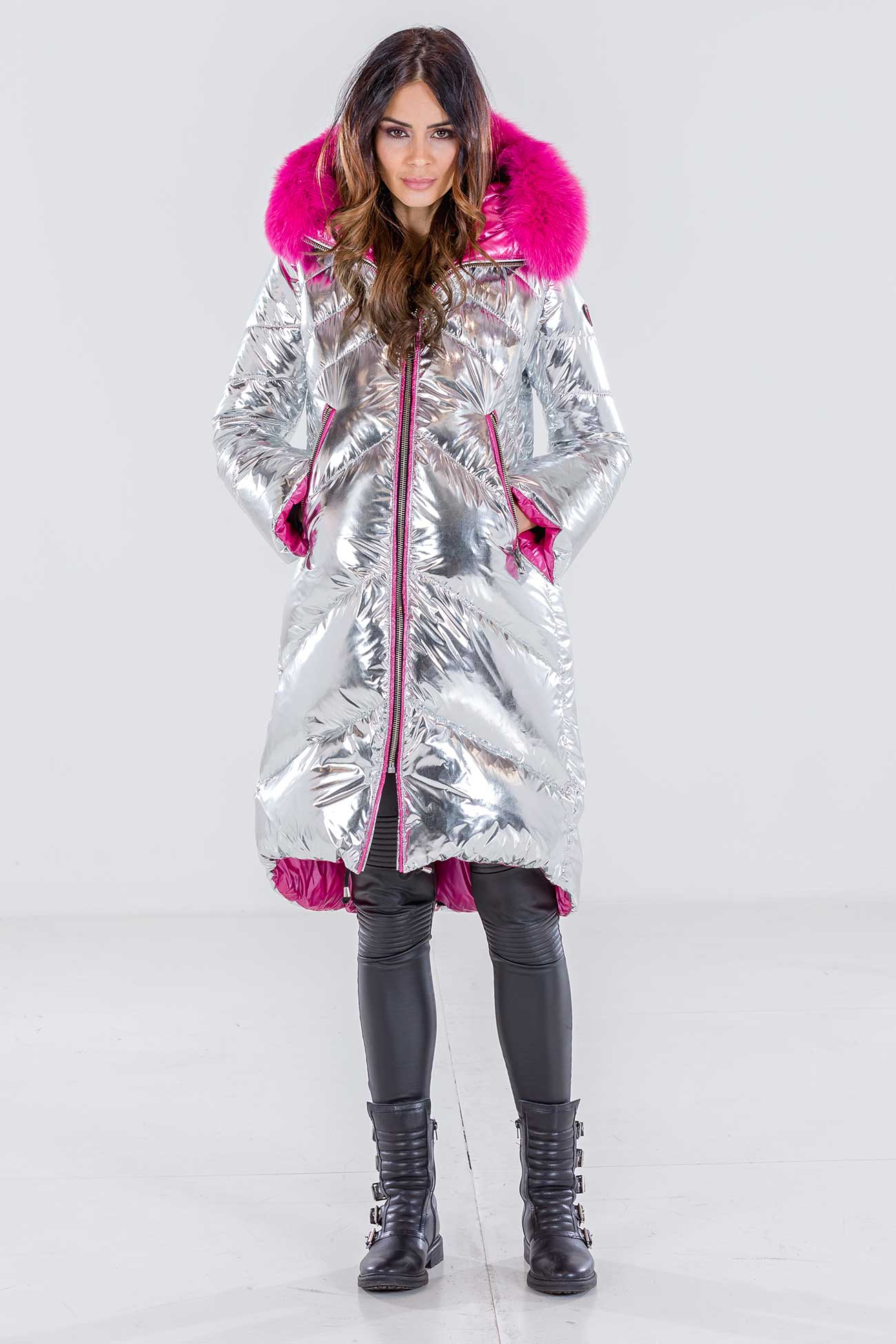 Silver down jacket with fox