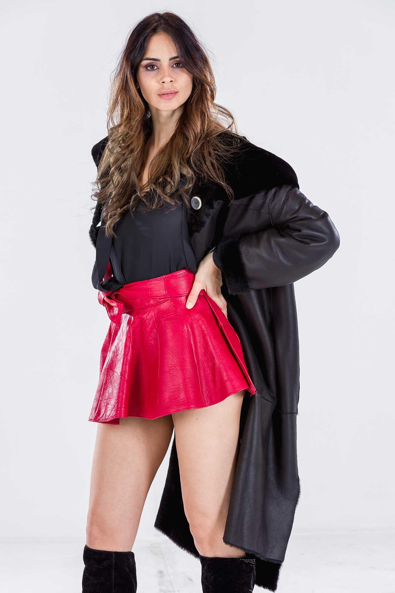 Hooded shearling coat