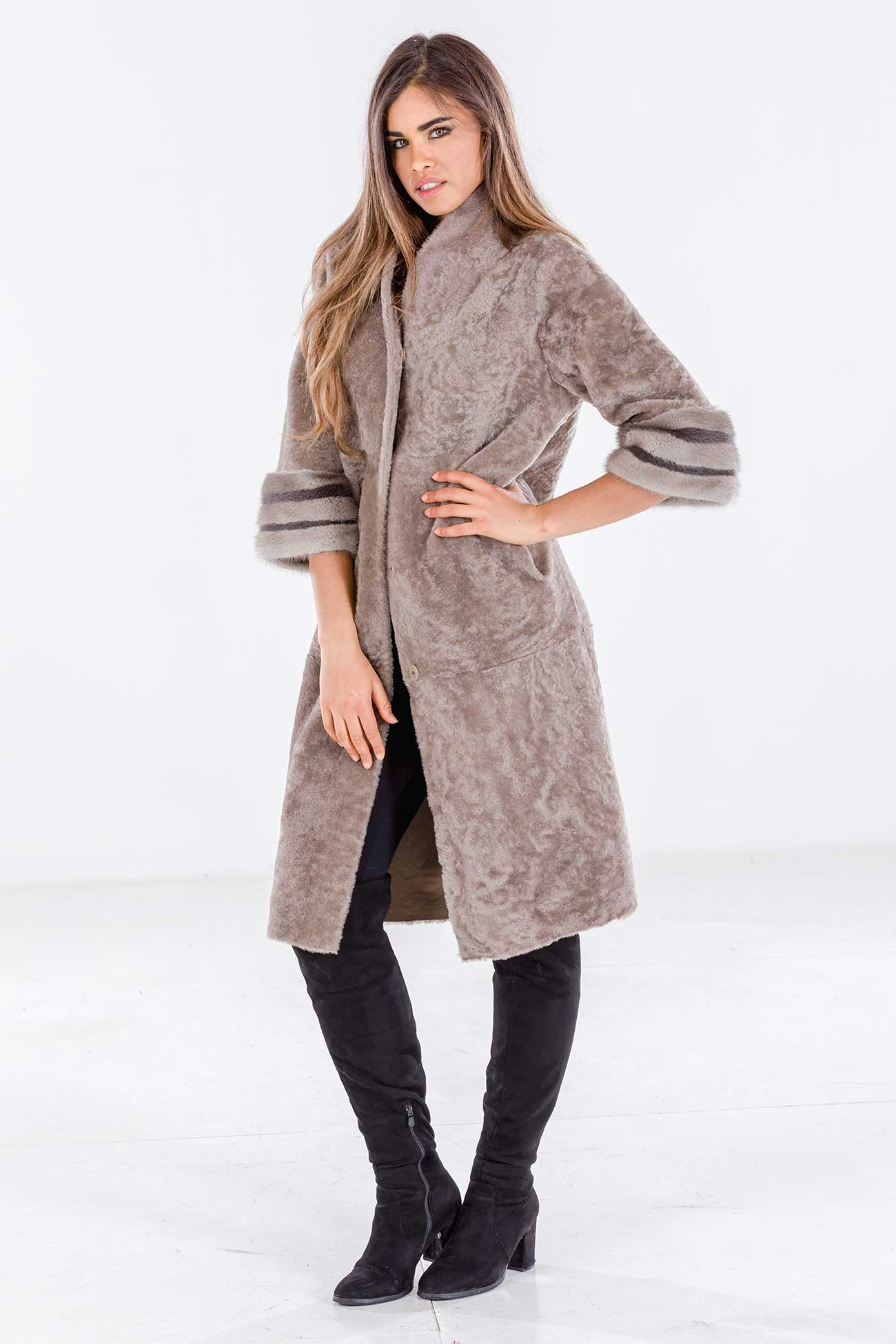 Shearling and mink coat