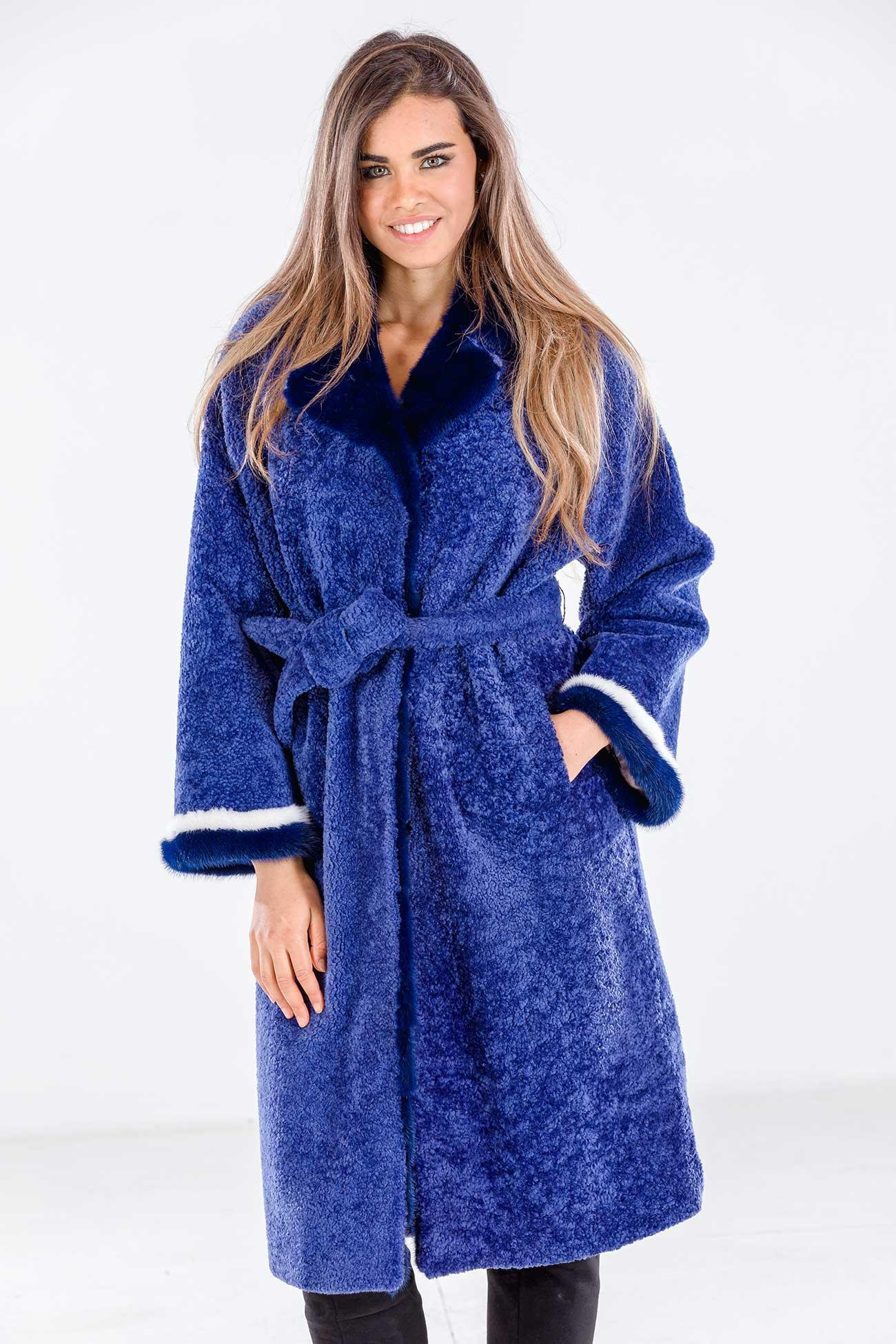 Cappotto shearling e visone blu