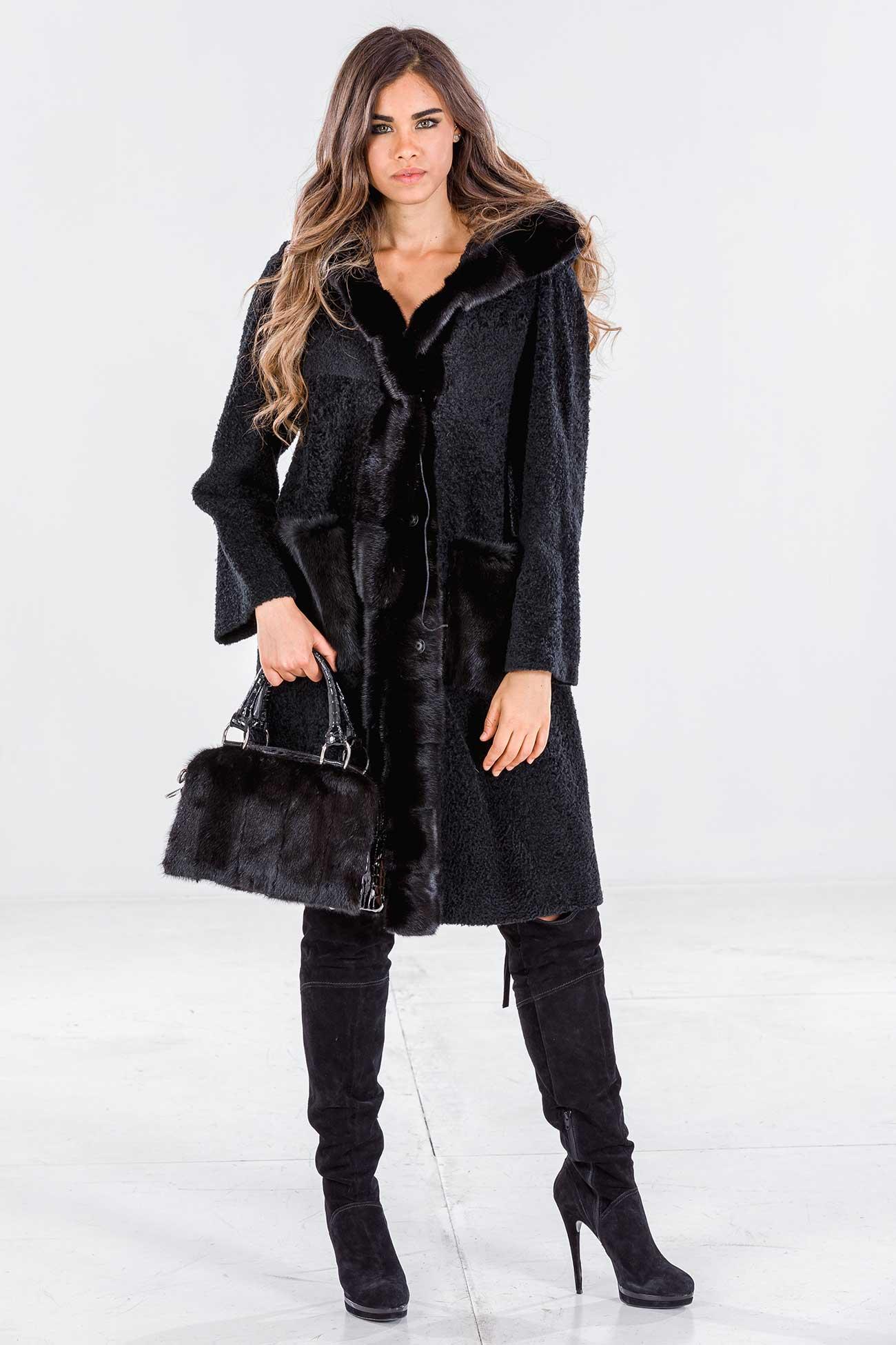 Cappotto shearling e visone con cappuccio