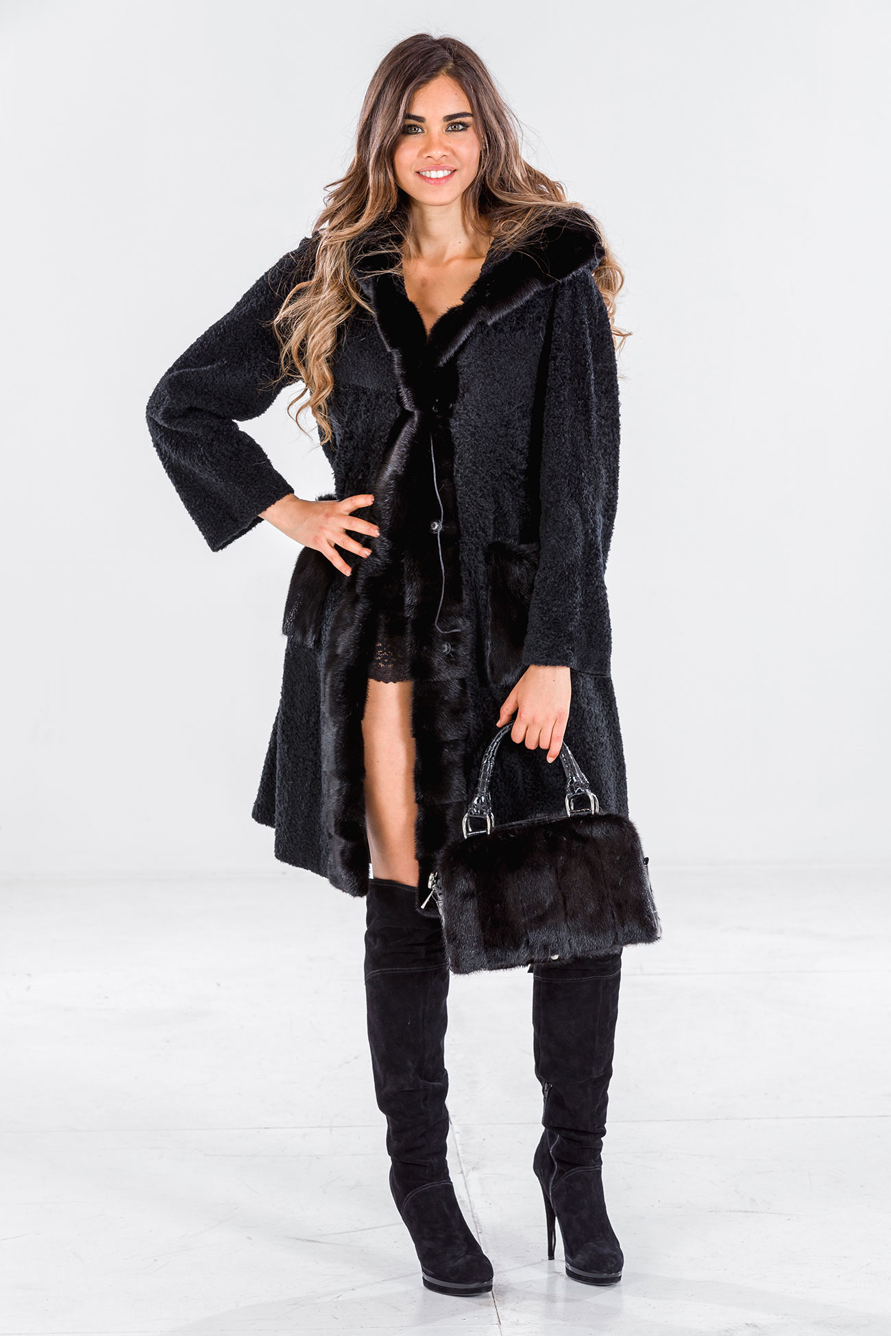 Hooded shearling and mink coat