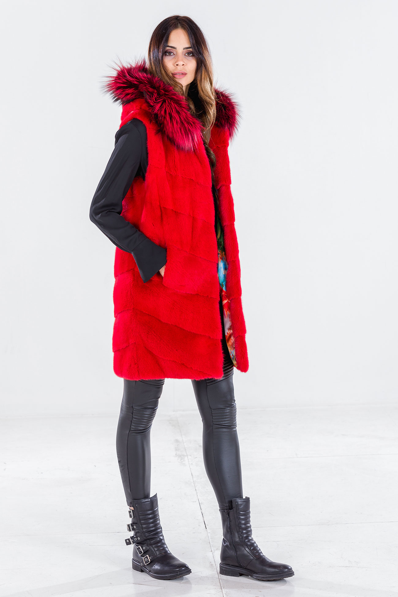 Hooded sleeveless coat