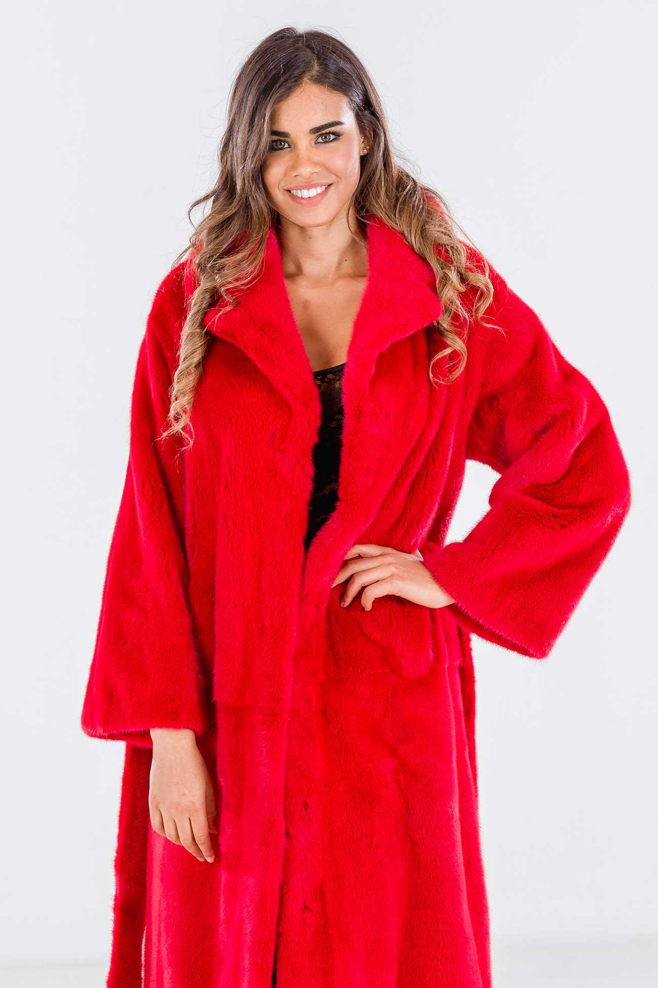 Cappotto visone rosso Ferrari