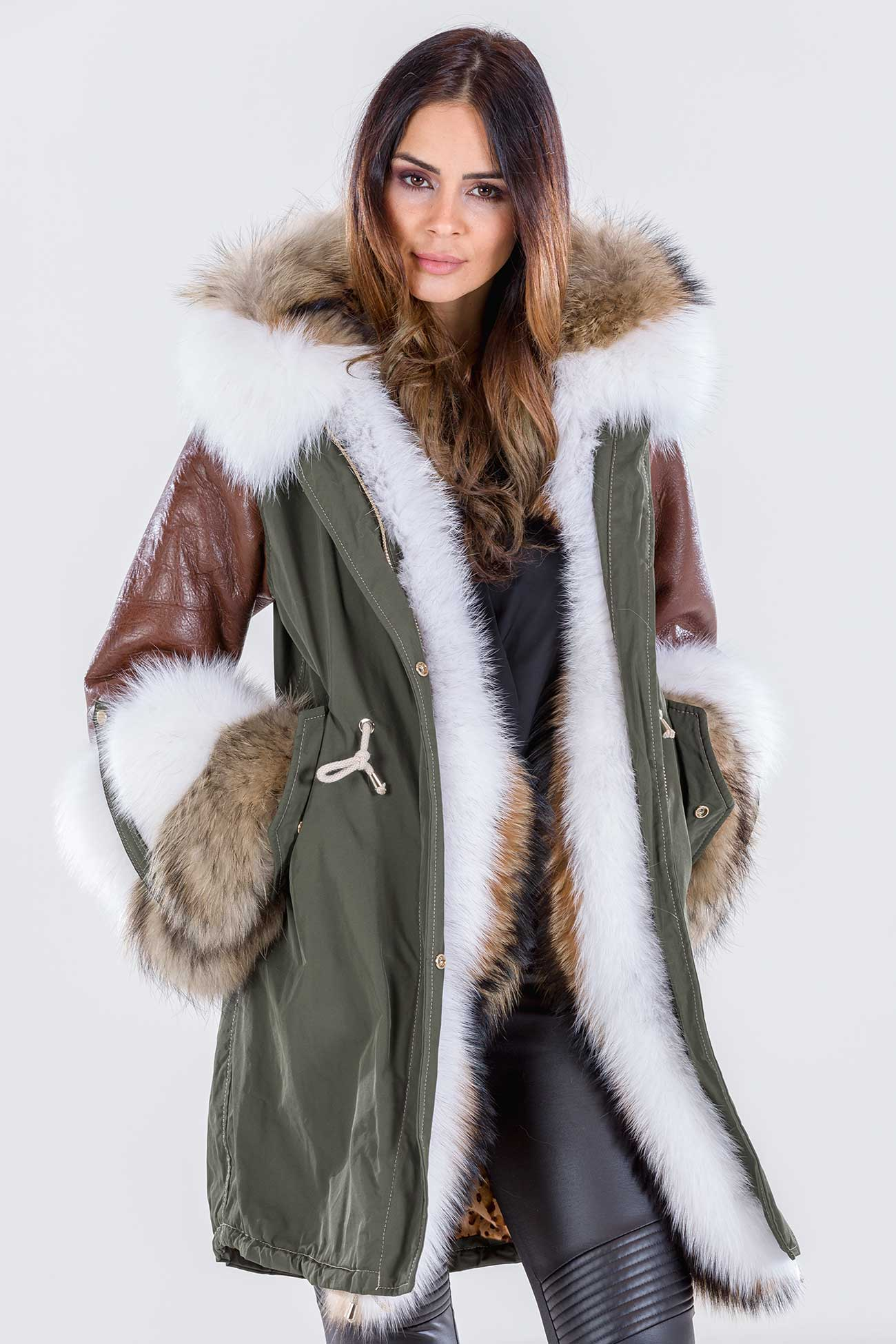 Hooded fur parka