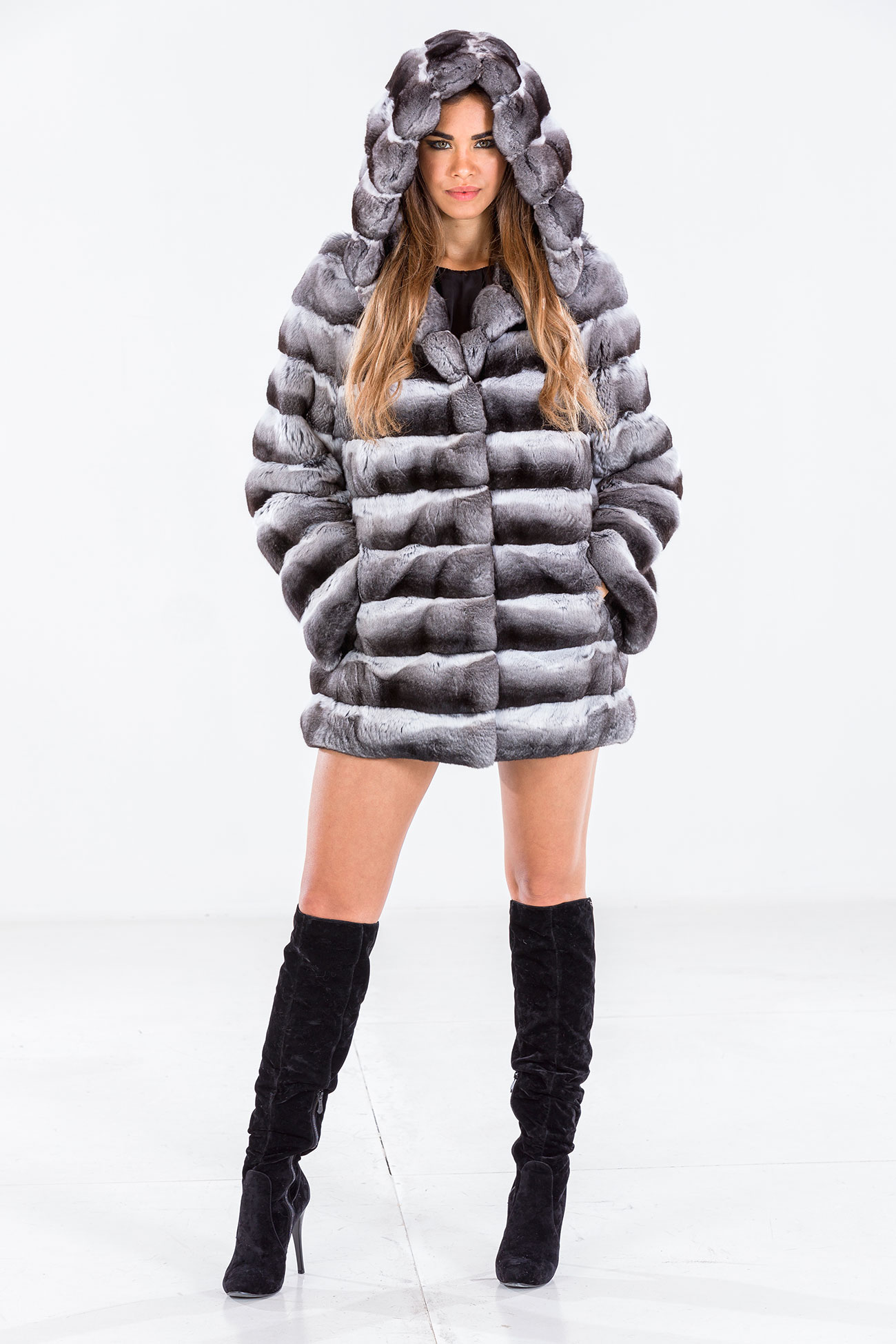 Hooded chinchilla jacket