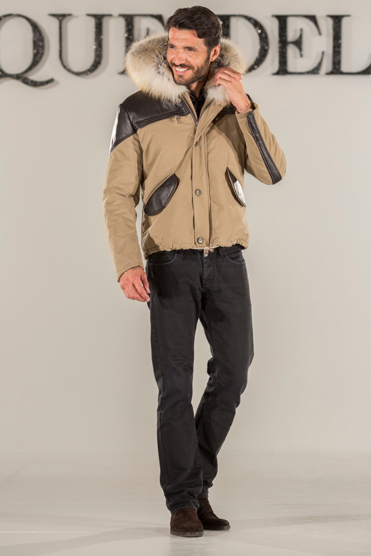 Padded jacket with nappa and fur details