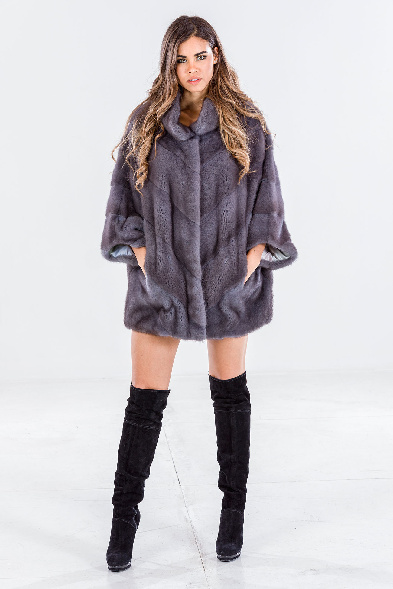 Mink cape jacket blue iris