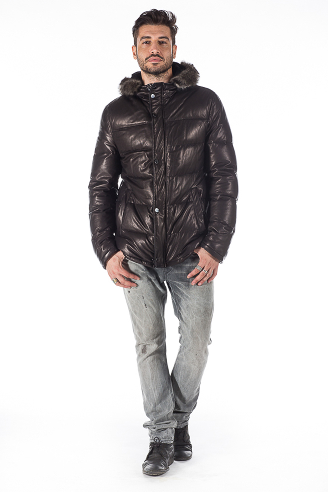 Hooded nappa leather jacket with goose feather padding