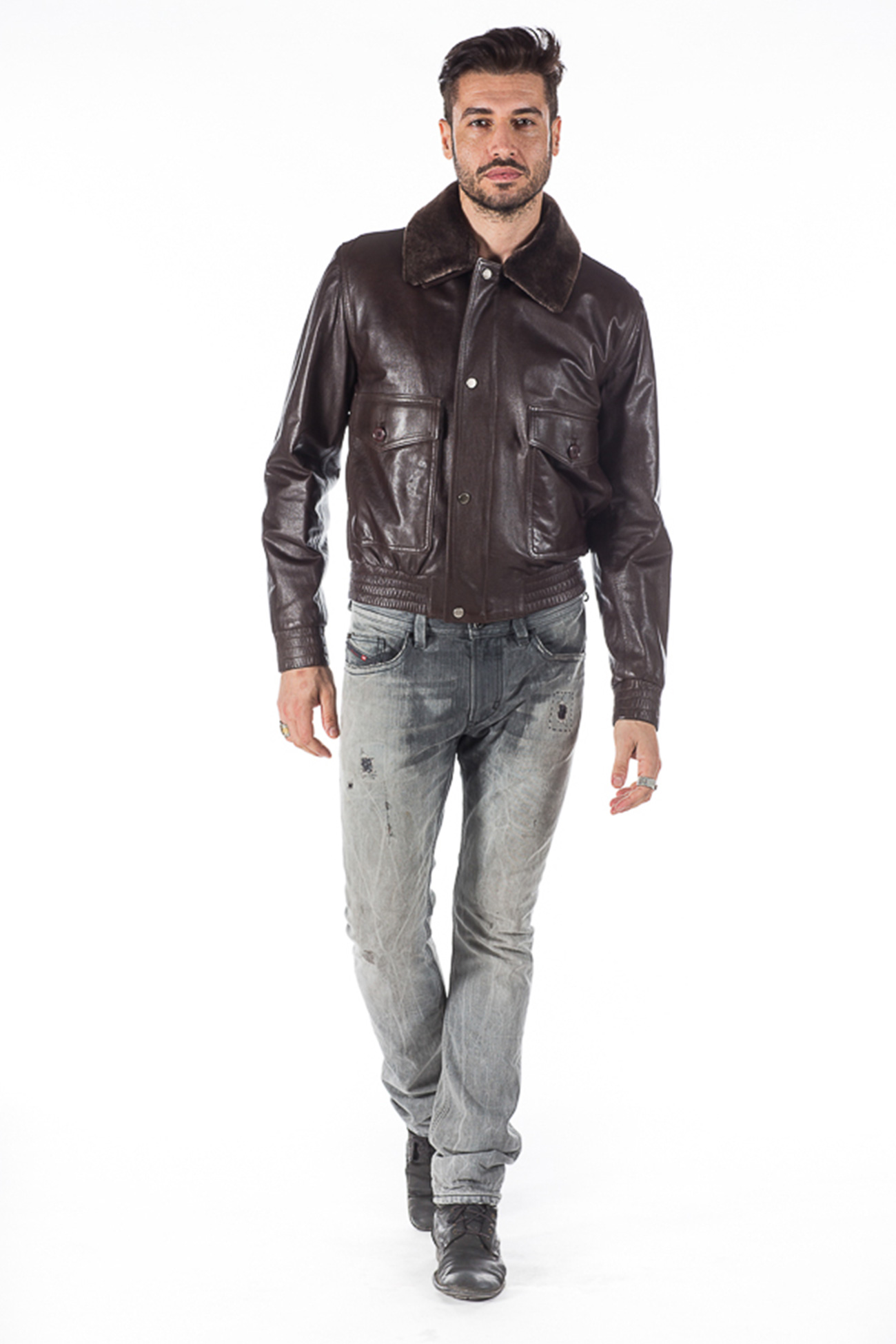 Nappa leather and shearling bomber jacket