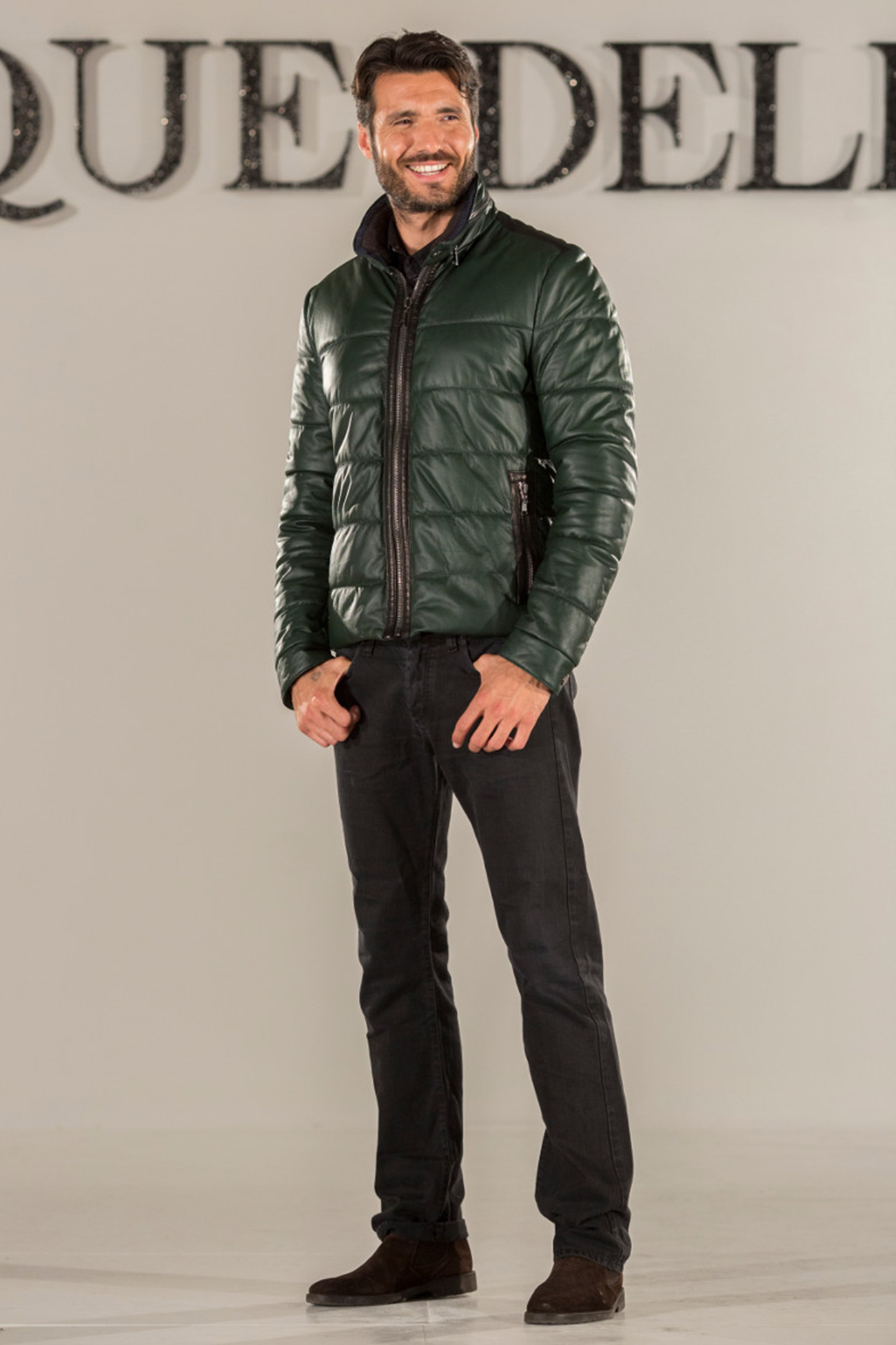 Nappa leather goose feather padded bomber jacket