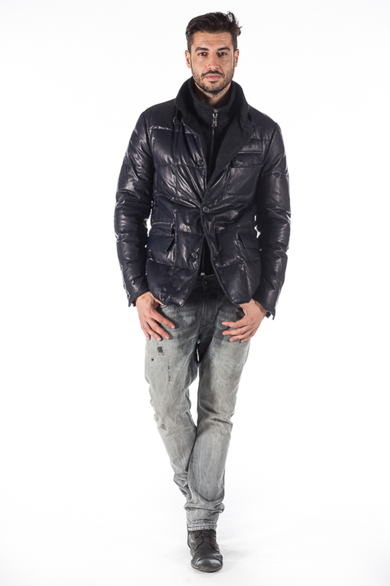 Goose down padded leather jacket