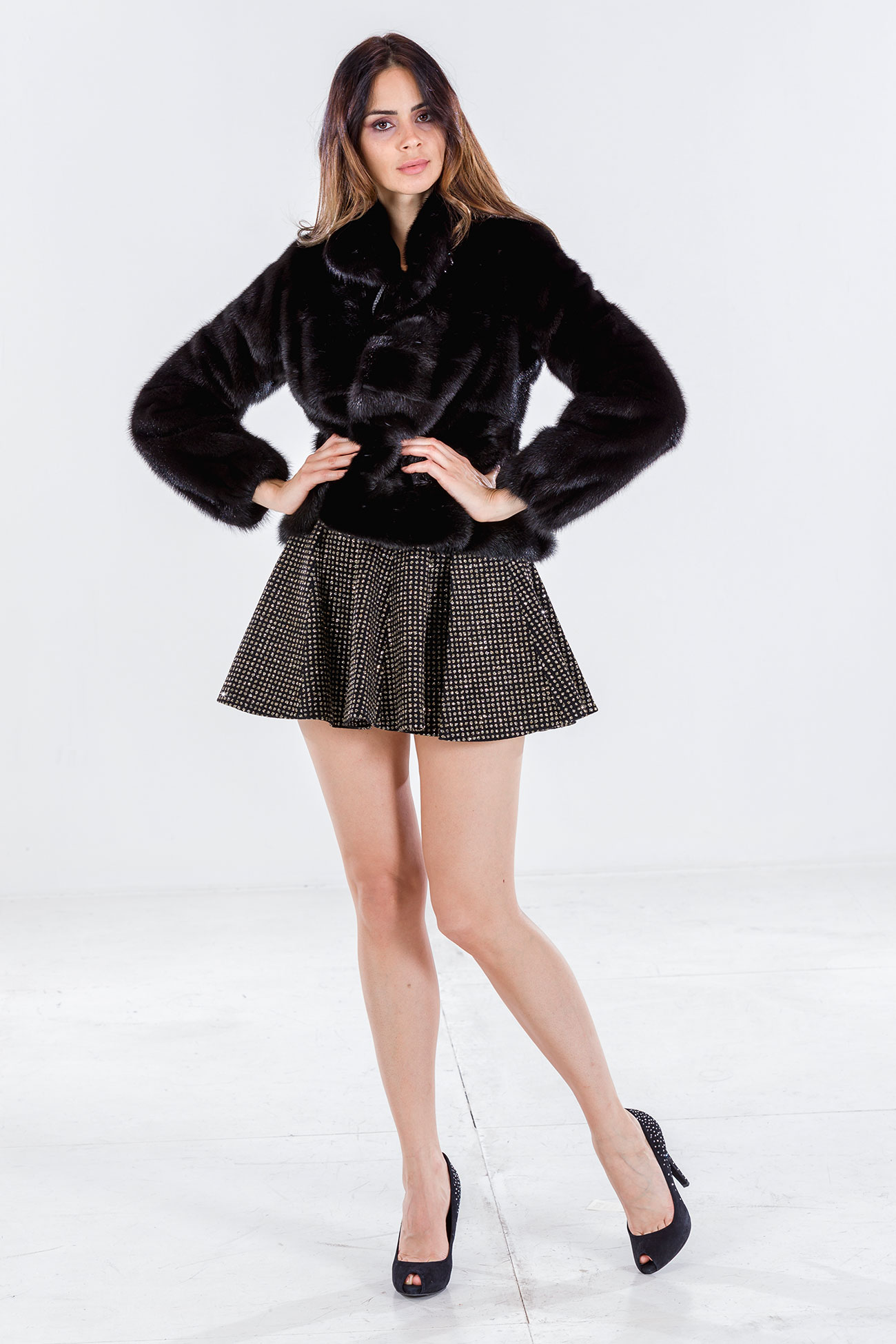 Giacca visone black