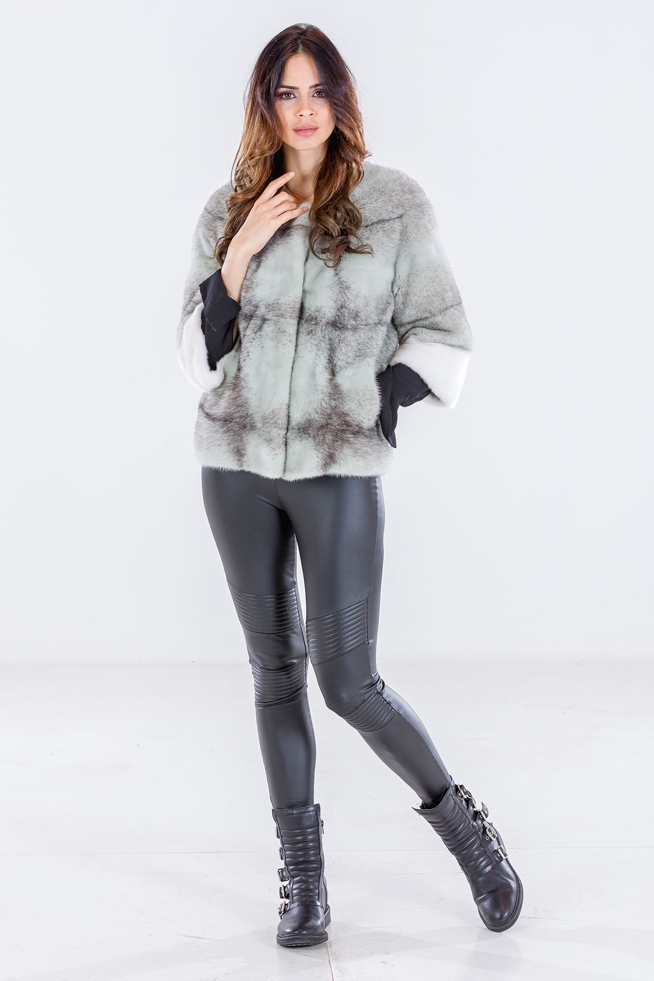 Black-cross mink jacket aquamarine