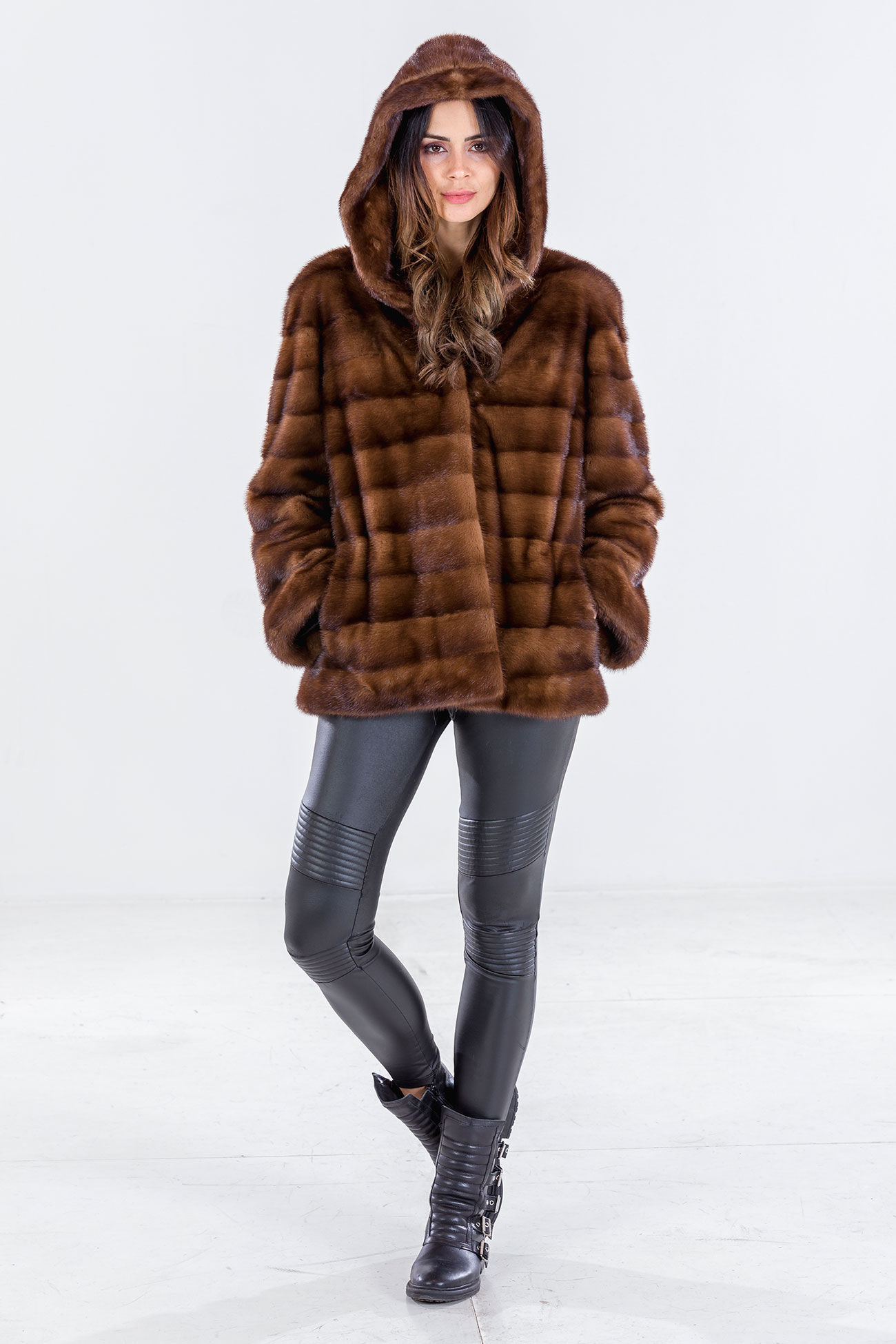 Hooded demi buff mink jacket