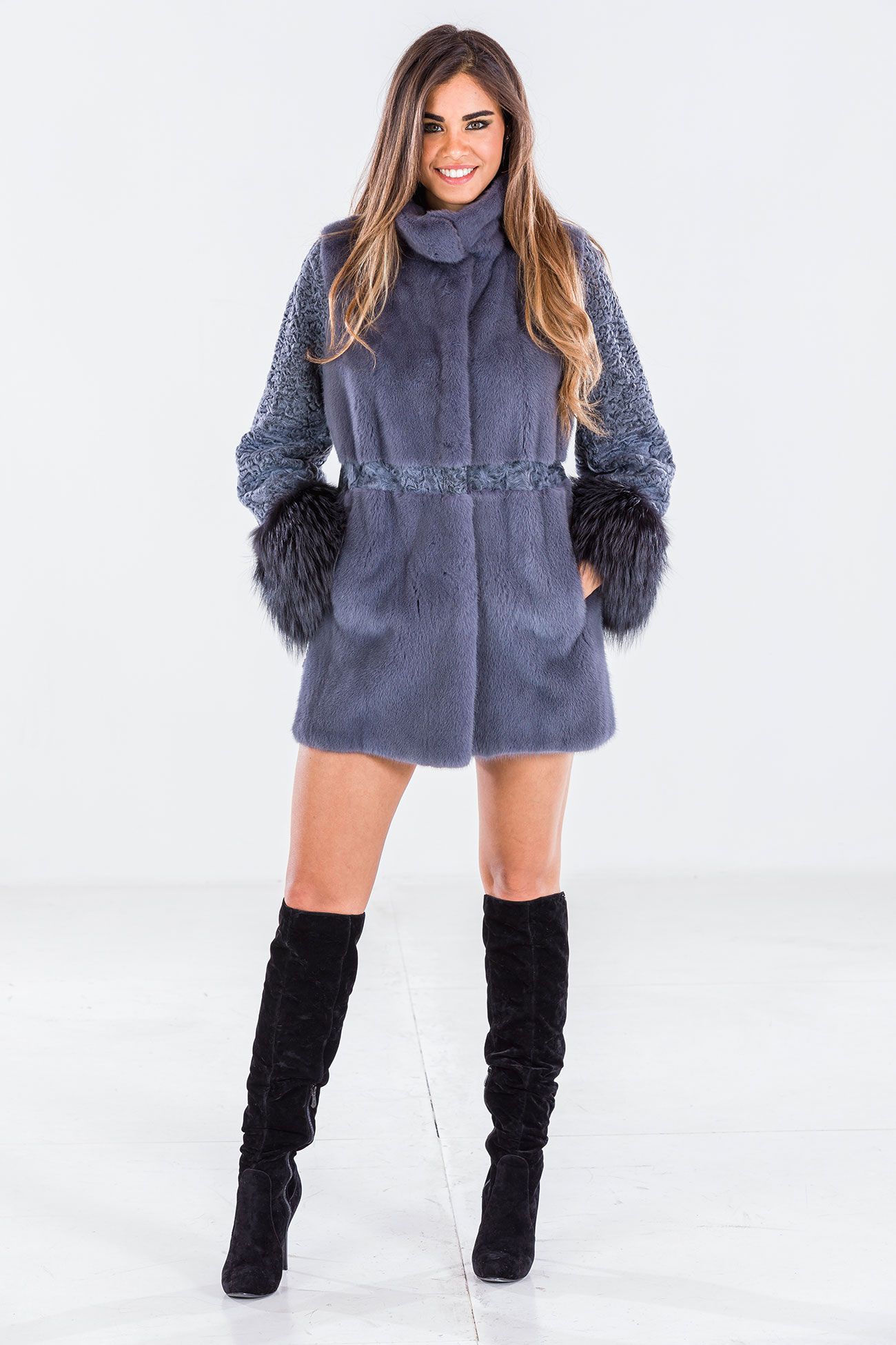 Mink and fox jacket lavender