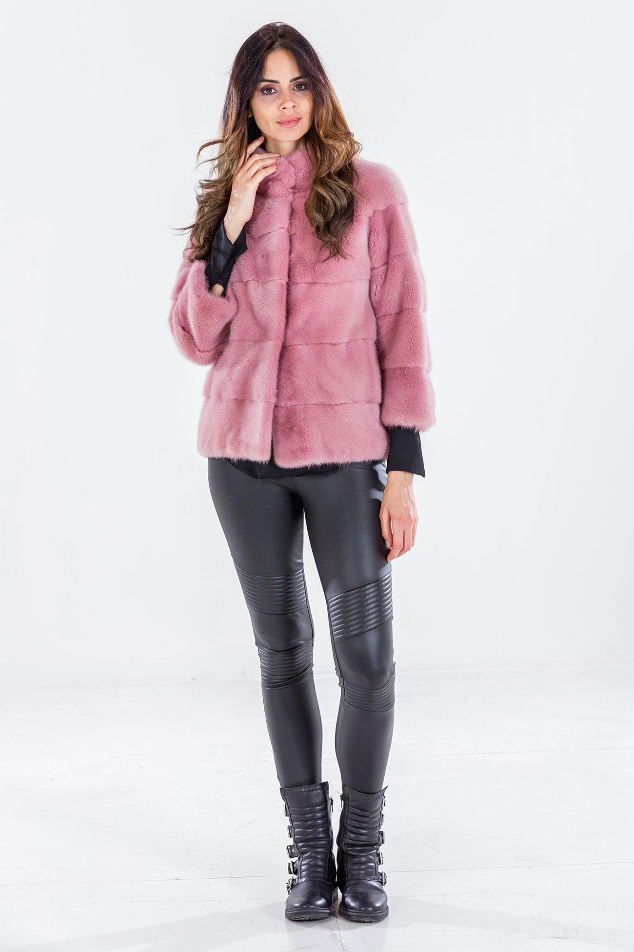 Mink jacket pink