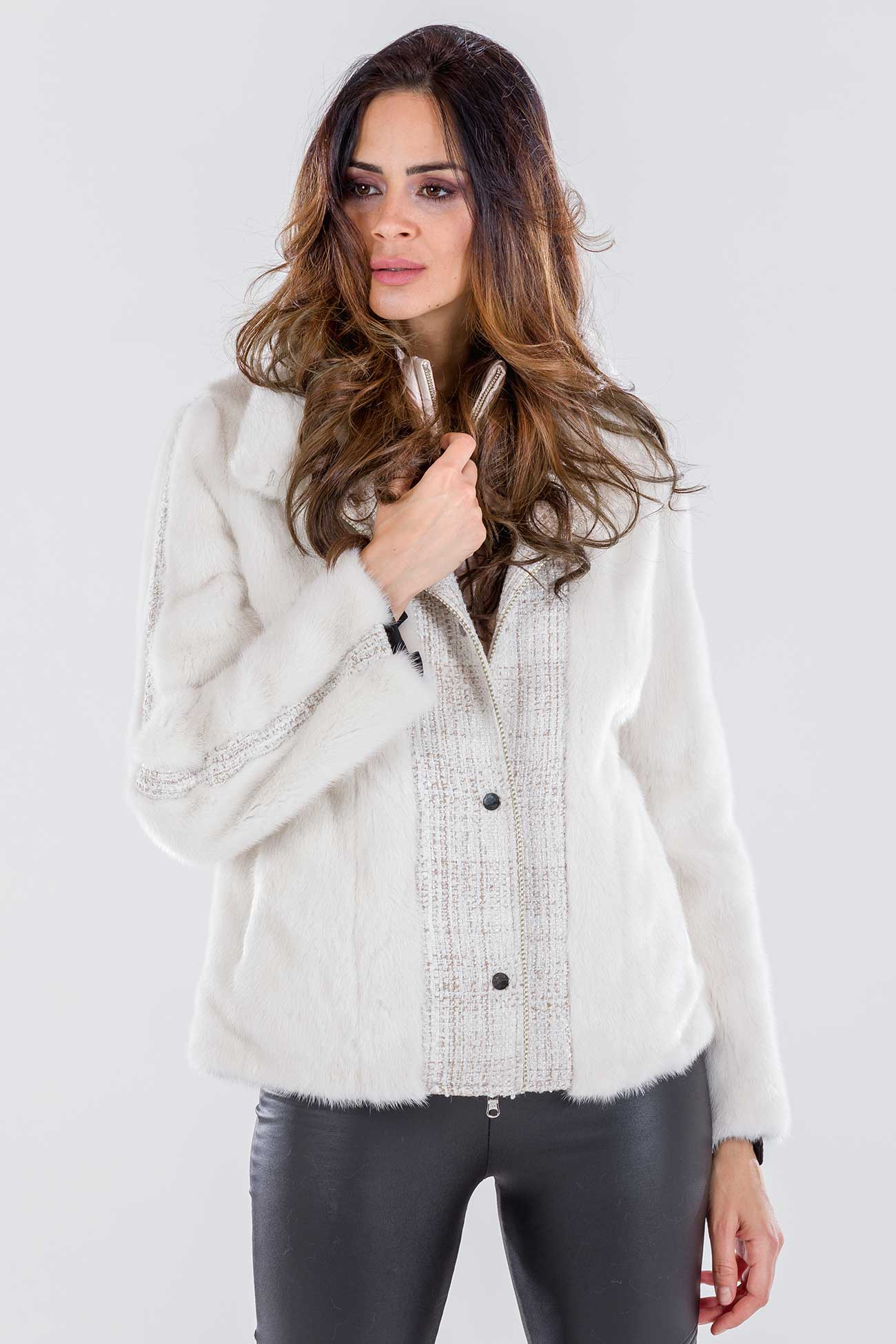 Mink white jacket with tweed inserts