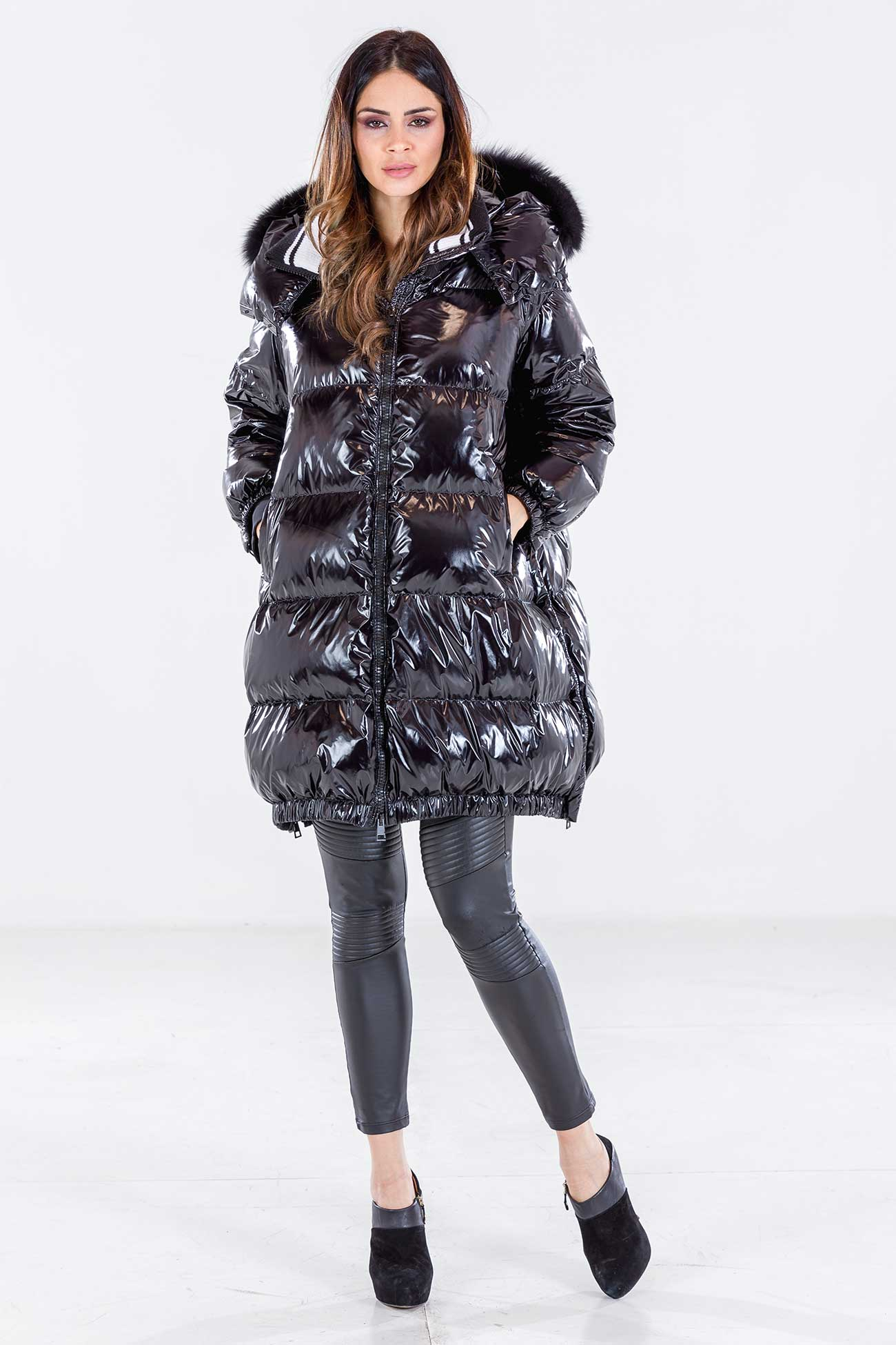 Oversize down jacket with fox