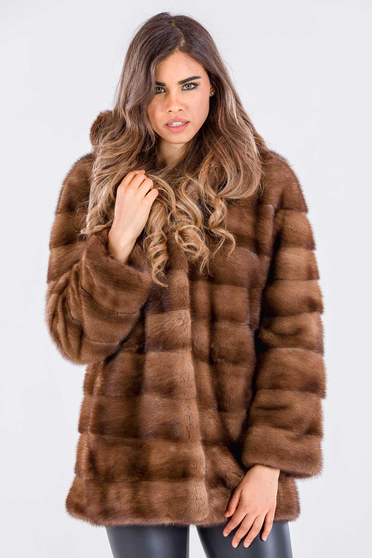 Hooded demi buff mink jacket