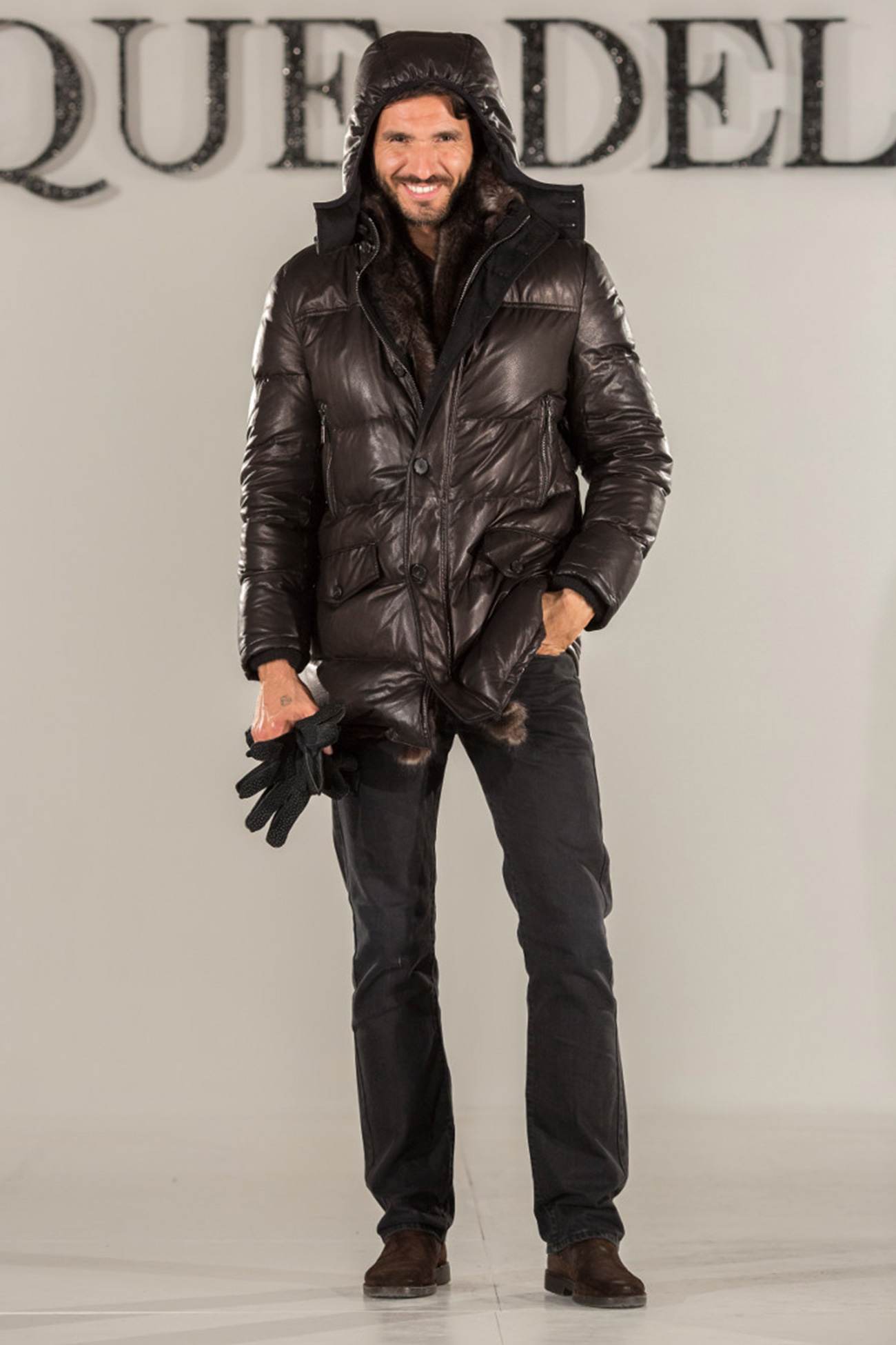 Hooded nappa leather down jacket